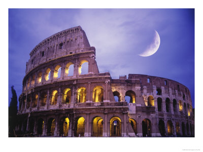 roman colosseum at night, Rome Italy
