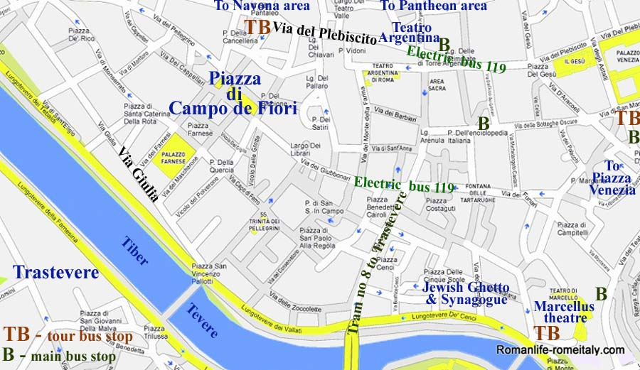 Campo De Fiori Hotels Map Sights Transport - Rome metro map 2016