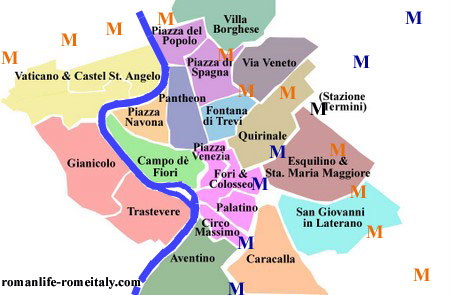 Rome Italy Map: Touring Rome Map of Rome Historic Areas.