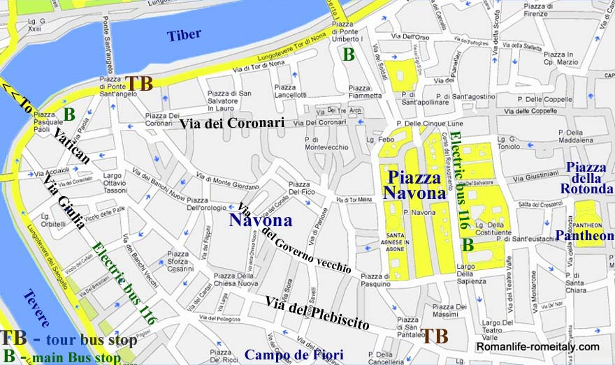 Piazza Navona Hotels Street Maps Pantheon Sights Transport – Map Of Rome Tourist Attractions