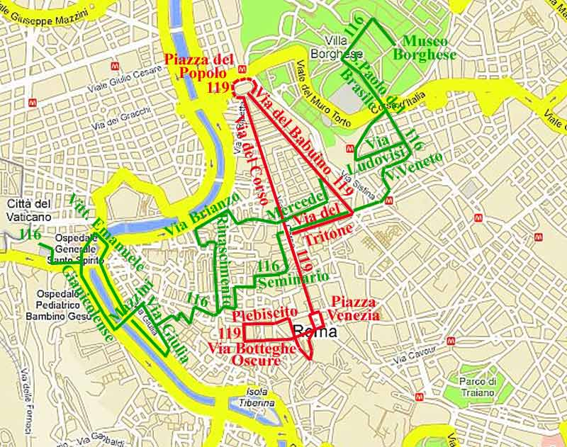 Street Map of Rome Italy: Center, Metro, Airport, Transport etc on