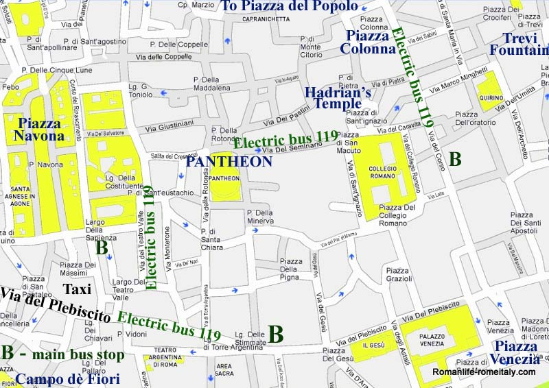 The Pantheon Hotels Street Maps Sights Transport etc – Rome Italy Tourist Map