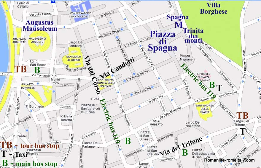 Spanish Steps Hotels Map Attractions Transport – Rome Italy Tourist Map