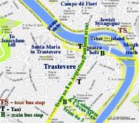 street map rome italy trastevere