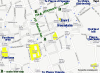 street map rome italy trevi fountain rome