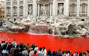 red trevi fountain rome